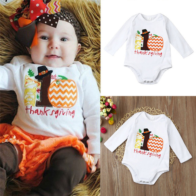 dc9bc15e564 Newborn Kids Baby Girls Thanksgiving Newborn Kid Baby Girl Outfits Clothes  Romper Wholesale Fast Shipping 2017 New Arrival