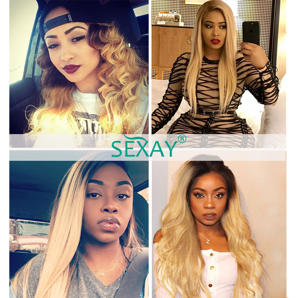 Sexay Honey Blonde Brazilian Hair Weave Bundles 3/4pcs Pre-Colored Hair Weave Ombre T1B 27 Remy Straight Human Hair Extensions