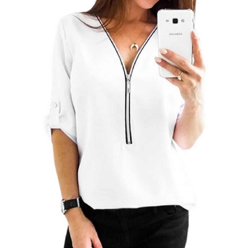 2019 летняя блузка женская сексуальная с v-образным вырезом женская элегантная рубашка блузка на молнии Одежда Топы Одежда офисные женские блузы Femininas