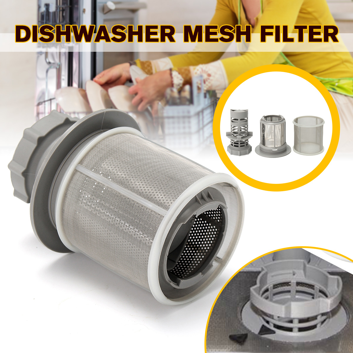 2 Part Dishwasher Mesh Filter Set Grey PP + Stainless Steel For Bosch Dishwasher 427903 170740 Series Replacement For Dishwasher