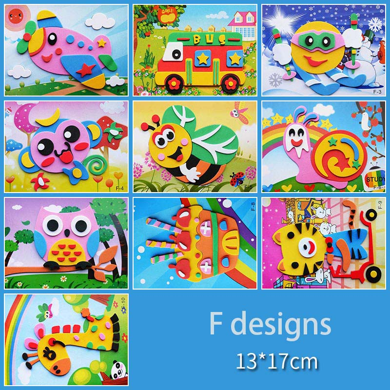 10 designs/lot DIY Cartoon 3D EVA Foam Sticker Puzzle Series Kids Multi-patterns Styles Toys for Children Birthday Gift 2