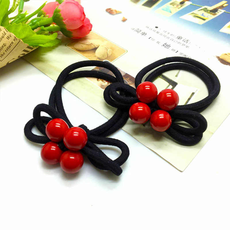 Korean version of the new head rope, high elastic rubber band leather cover, bow red beads hair ring, girl hair accessories