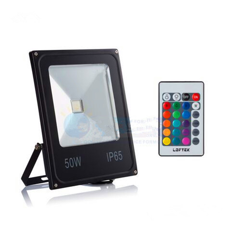 Led floodlight 10W 20W 30W 50W 220v IP65 outdoor spot lights RGB with remote controller flood lamps garden led chip light source 10w 3 series 3 in parallel integrated 9 led rgb light source module silver