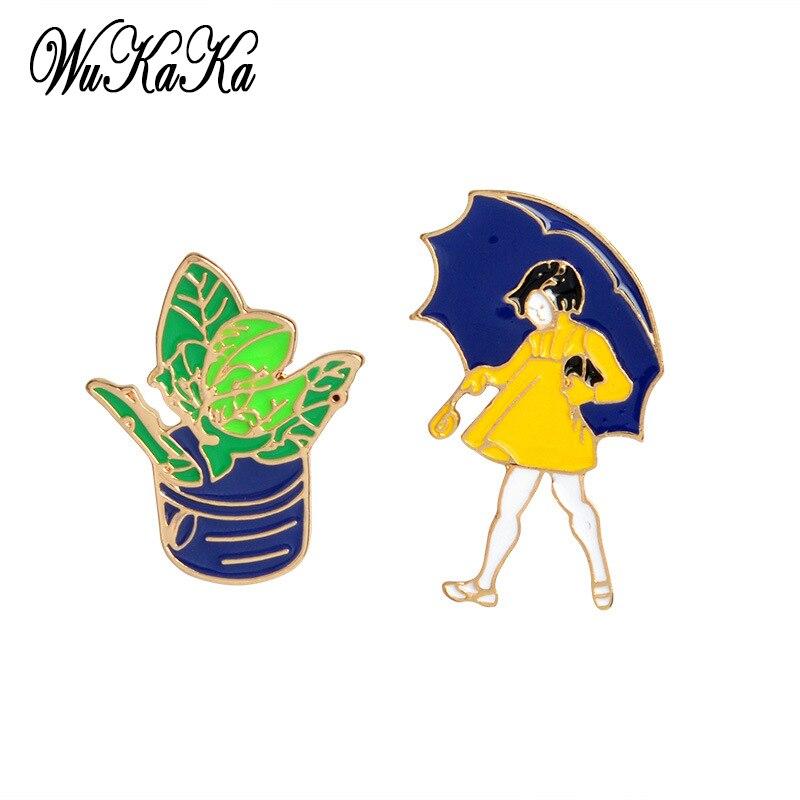 2PCs 1 Set Cartoon Succulent plants Brooch Set Umbrella Girl For Clothes Jeans Backpack Badges Metal Enamel Pin Clothing
