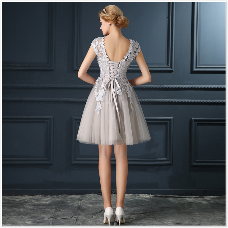 Robe De Soiree 2017 gery u collar Lace Up short evening dress abendkleider vestito da sera prom dresses party dresses 4 colors 18