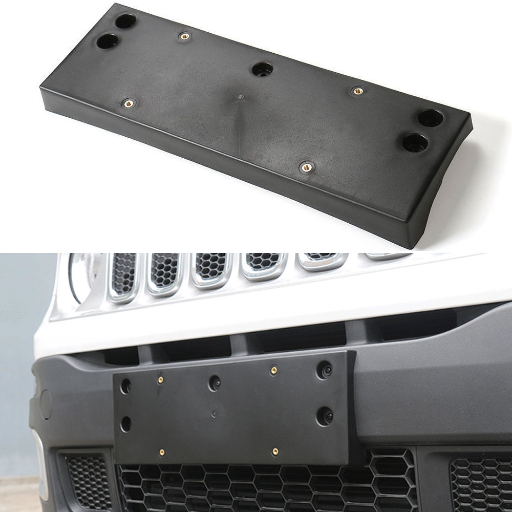Auto ABS Plastic Car Front Bumper License Plate Holder Frames Mount Base Bracket Cover For Renegade 2.0L 2015 2016 Car Styling