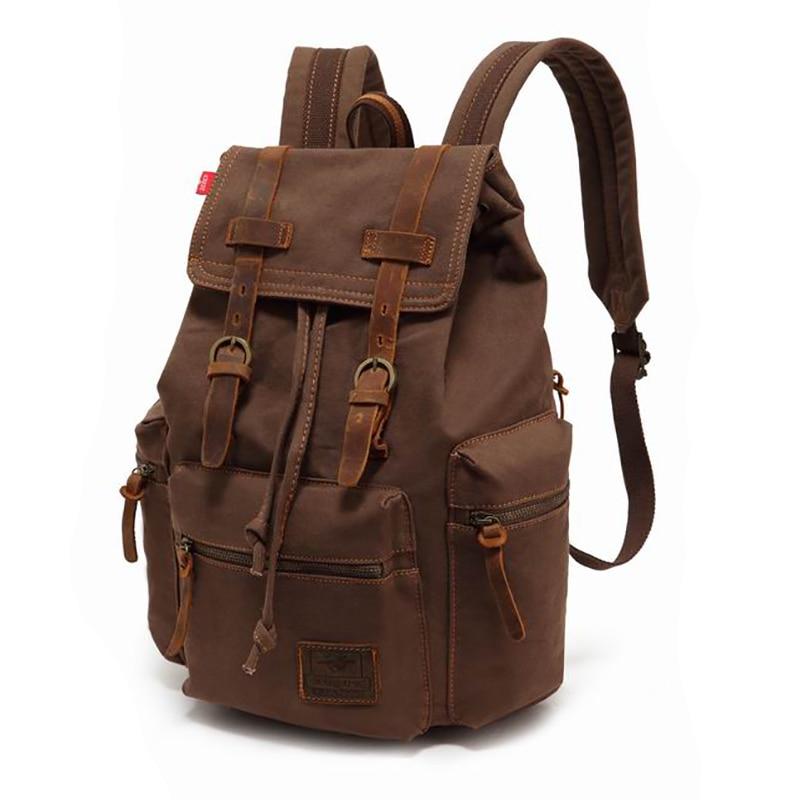 Vintage  Canvas Casual Backpack Male 15.6&Quot; Computer Laptop Backpack Black Travel Bag