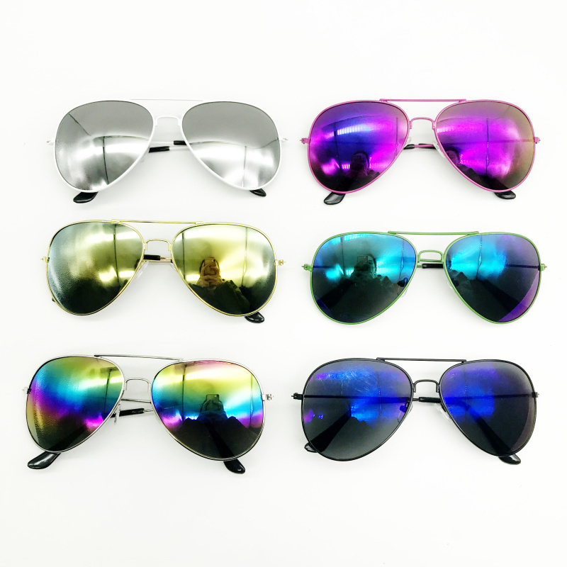 24 Pack Mix Color Metal Frame Mirrored Lense Pilot Sunglasses Costume Glasses 70 s Style Sunglasses