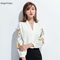 Sexy V Neck Embroidery Flower Top Tees Lantern Sleeve 2017 Women Slim OL Office Blouse Korea