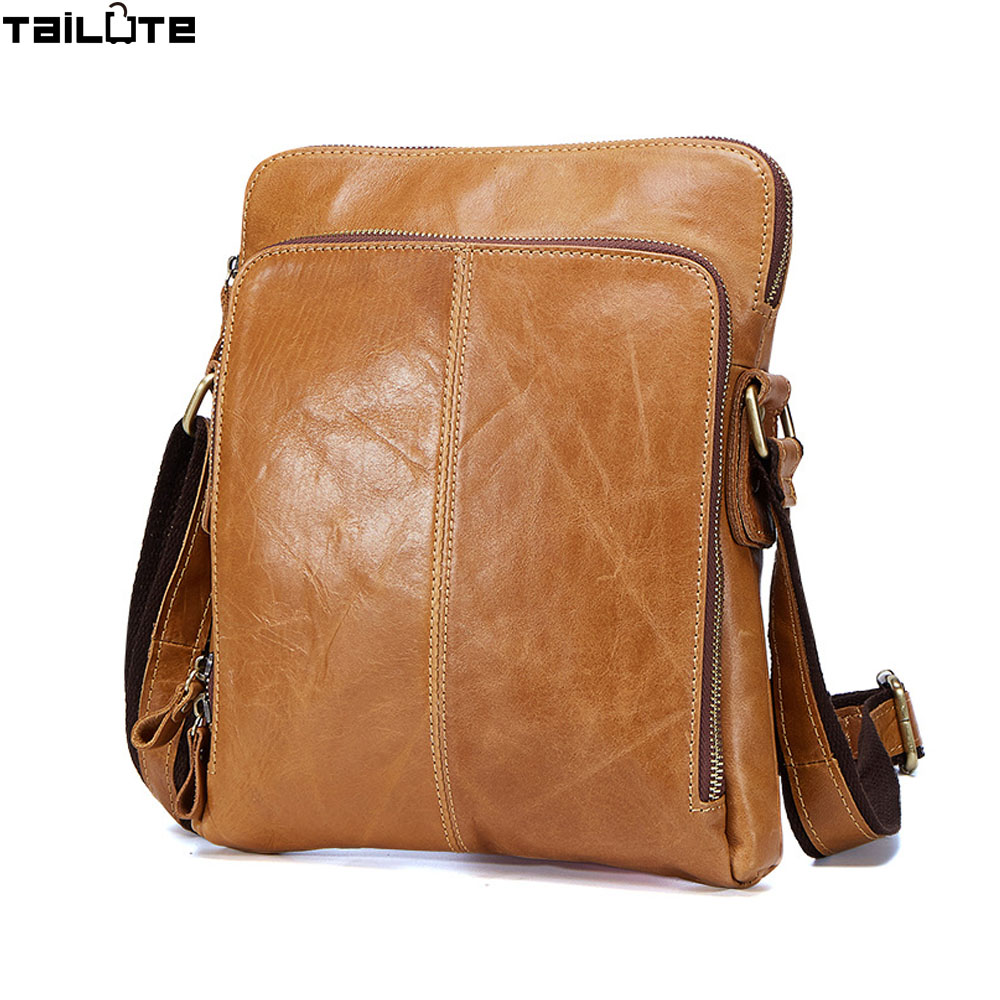 High quality 2017 Brand Genuine Leather bag Vintage Designer Men Crossbody bags Cowhide leather small messenger bag for man