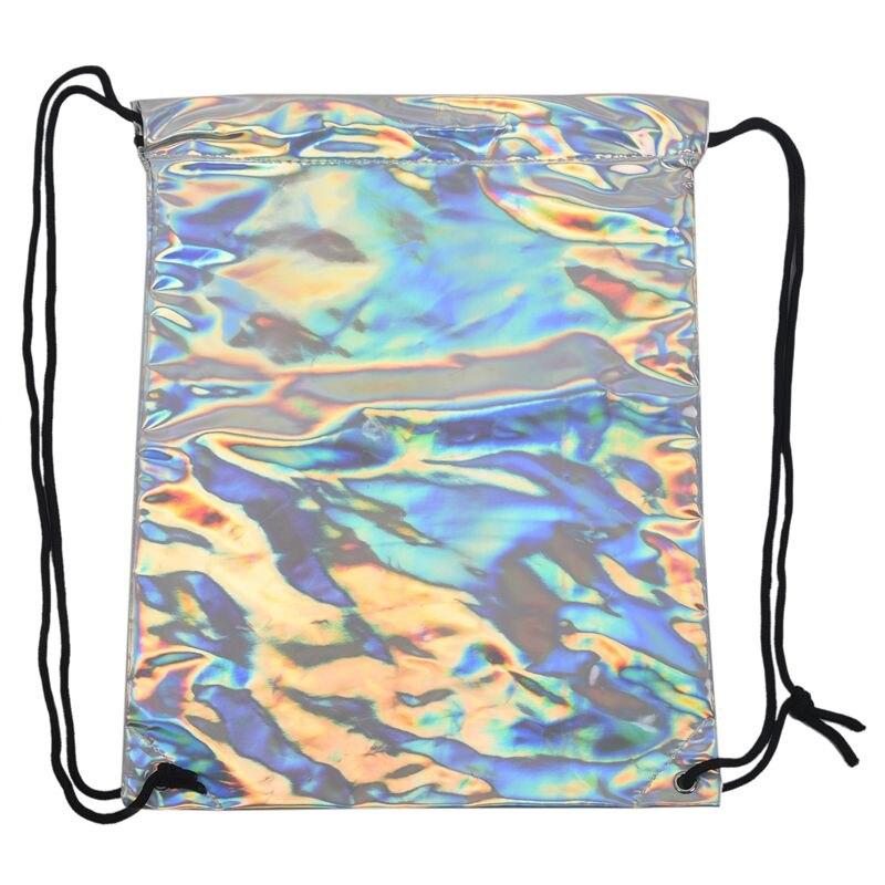 Shiny Hiking Gym Bag Backpack School Bookbags Holo Graphic Smooth String Bag