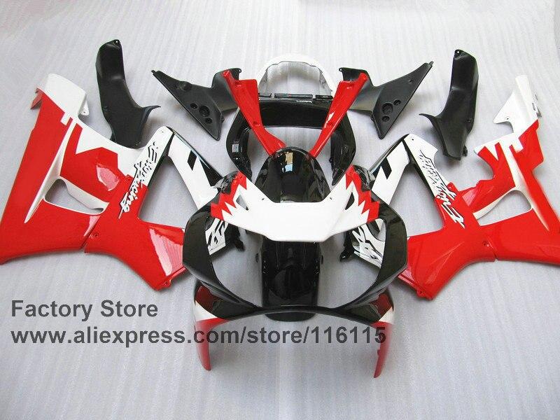 Custom free Motorcycle fairing set for HONDA CBR 929 fairings 2000 2001 CBR900RR fireblade red white