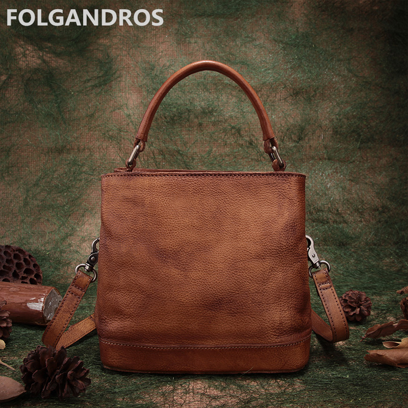 2018 Brand Women Handbag Vintage Genuine Leather Top-Handle Bag Designer Handmade Cowhide Casual Shoulder Messenger Bag Bolsa top quality handmade vintage casual bag genuine leather womens real cowhide designer handbag messenger bags for women w092544