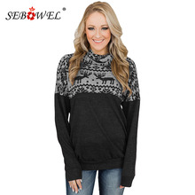 SEBOWEL Christmas Reindeer Pattern Woman Sweatshirts Hoodies Long Sleeve Cowl Neck Top Female Knit Pullover New Autumn Outerwear
