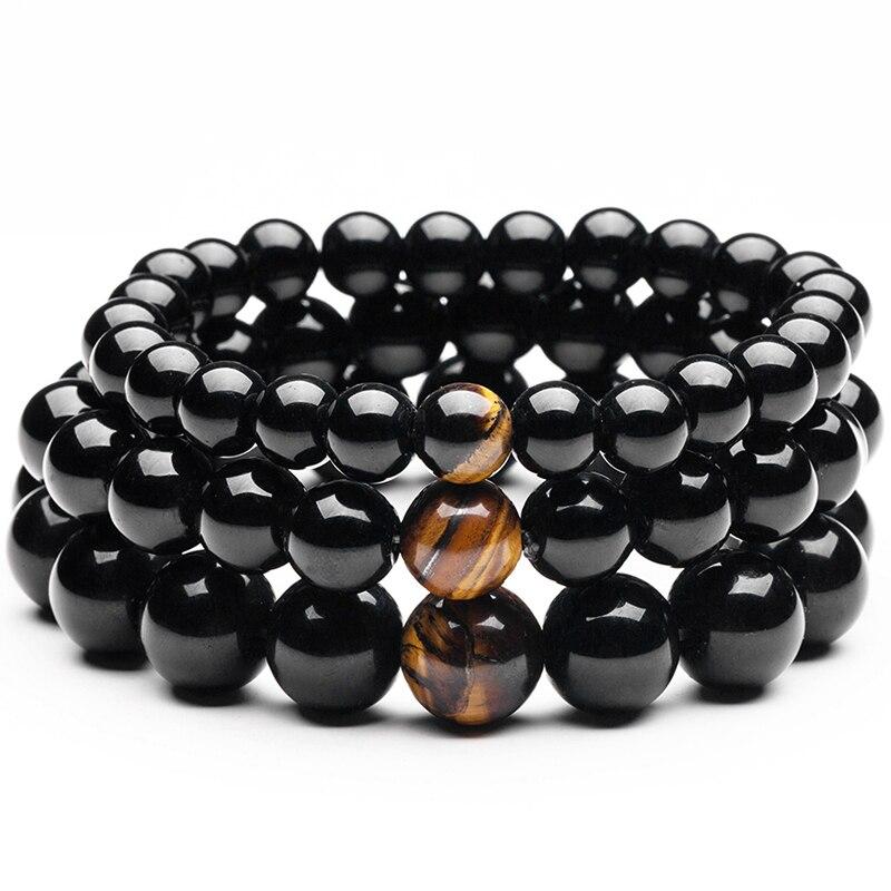 Natural Black Hematite With Tiger Eye Stone Beads Men Jewelry Bracelet 12mm Lovers Energy Balance Strand Bracelets Bangles Male(China)