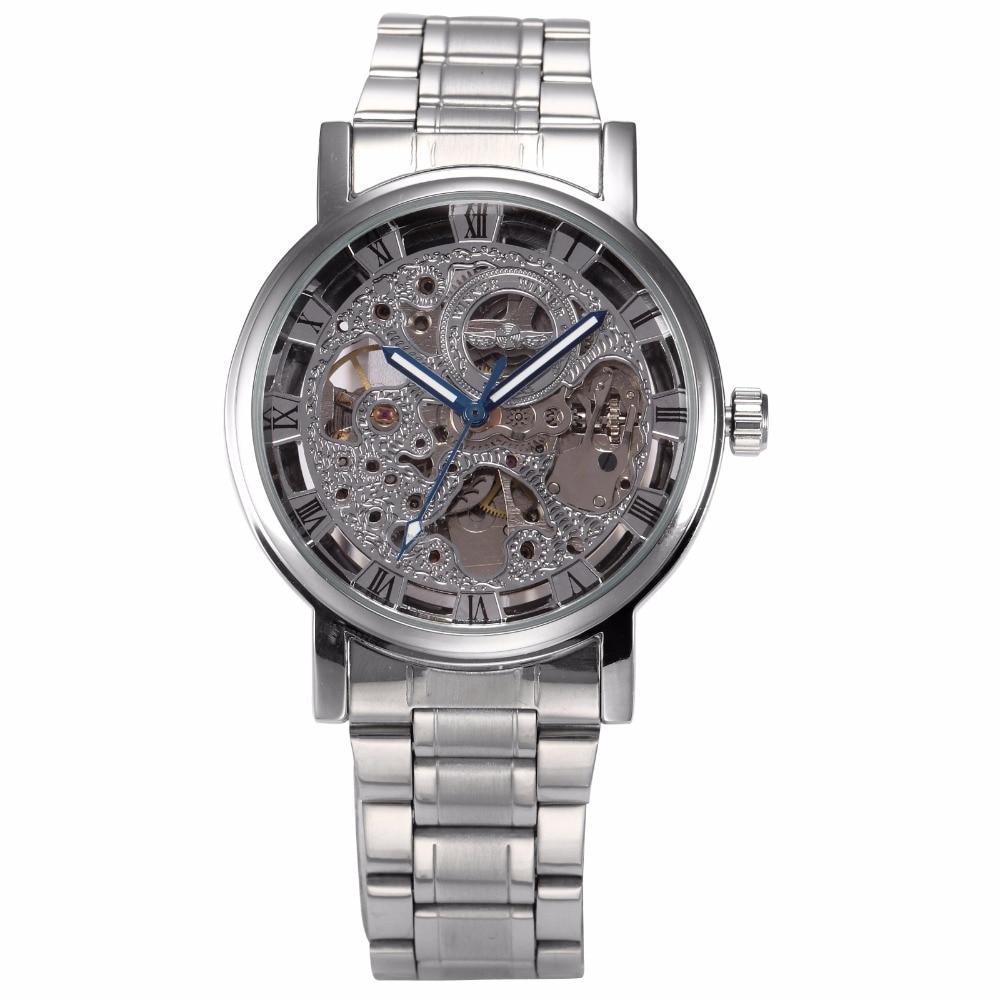 где купить  Luxury Winner Men Silver Skeleton Mechanical Watch Roman Analog Steampunk Stainless Steel Band Hand-winding Wrist Watch /PMW268  по лучшей цене