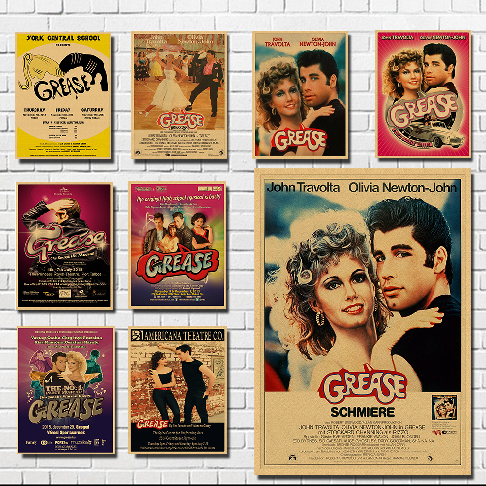 Vintage grease movie poster 1978 Vintage Retro Kraft Paper Poster Office Gift Room Dining Home Decor wall sticker Design 30*21cm