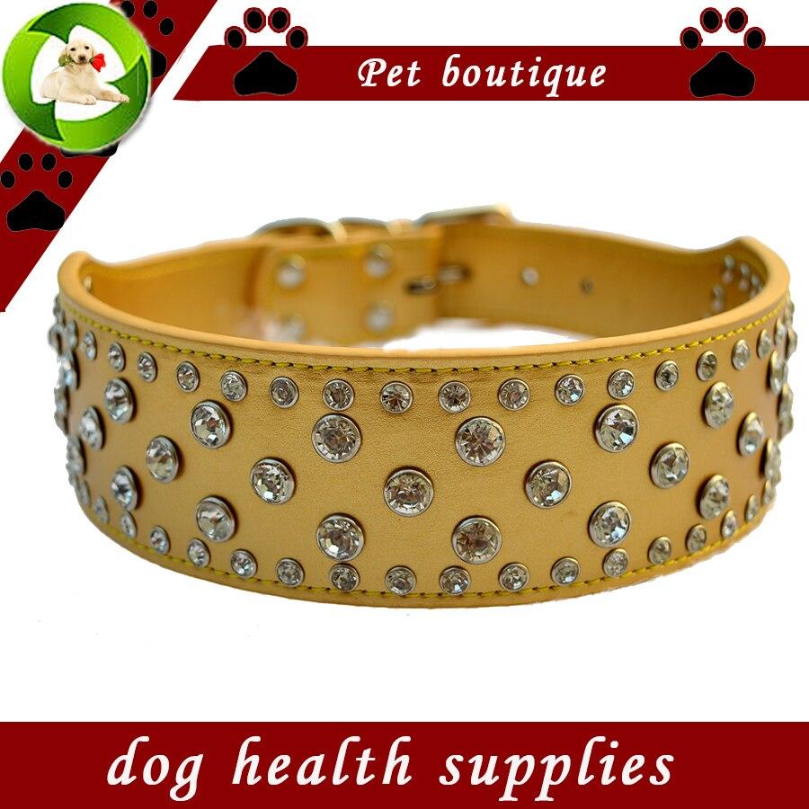 Mode Diamante Dog Collar Besar 2 Inch Lebar Pu Kulit Kerah Untuk - Produk hewan peliharaan - Foto 4