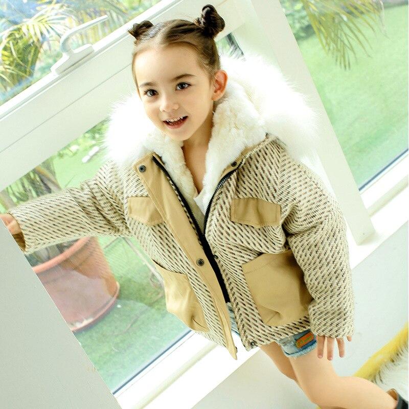 Children Woolen Coat Girls Rabbit Fur Liner Jacket Long Sleeve Raccoon Fur Hooded Kids Winter Trench Coat 2-14 Years TZ344
