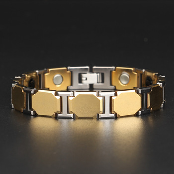 New Black Titanium 4 Elements Bracelets For Women Elegant Magnetic Therapy Link Bracelet for Health OTB-1287BK