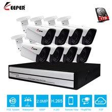 Keeper H.265 Full HD 1080 p 8 Canali del Sistema A CIRCUITO CHIUSO 8 pz 2MP Metallo Macchina Fotografica del IP Esterna 8CH 1080 p POE NVR Kit CCTV HDMI P2P Mail di Allarme