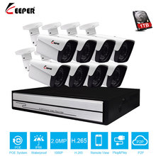 "Keeper H.265 מלא HD 1080 p 8 ערוץ טלוויזיה במעגל סגור מערכת 8 יחידות 2MP מתכת חיצוני IP מצלמה 8CH 1080 p POE NVR CCTV ערכת HDMI P2P אזעקת דוא""ל"