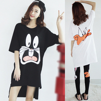2016 Summer Low High Plus Size Loose Short Sleeve Cartoon T Shirt Female Long Design T