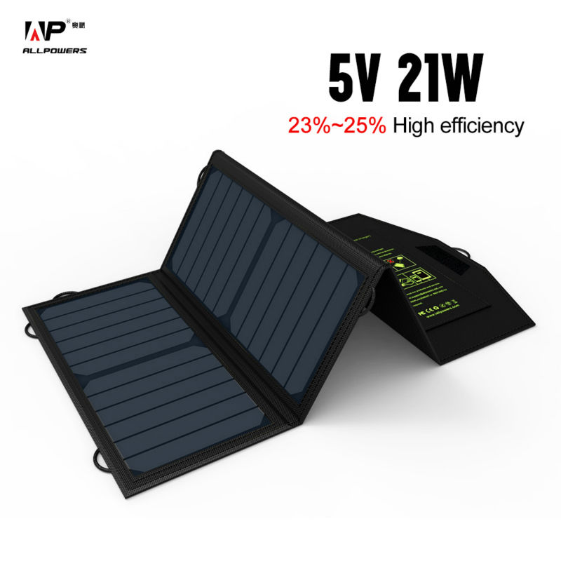 ALLPOWERS 5V21W Portable Phone Charger Solar Charge Dual USB Output Mobile Phone Charger for iPhone Samsung Huawei Smartphone