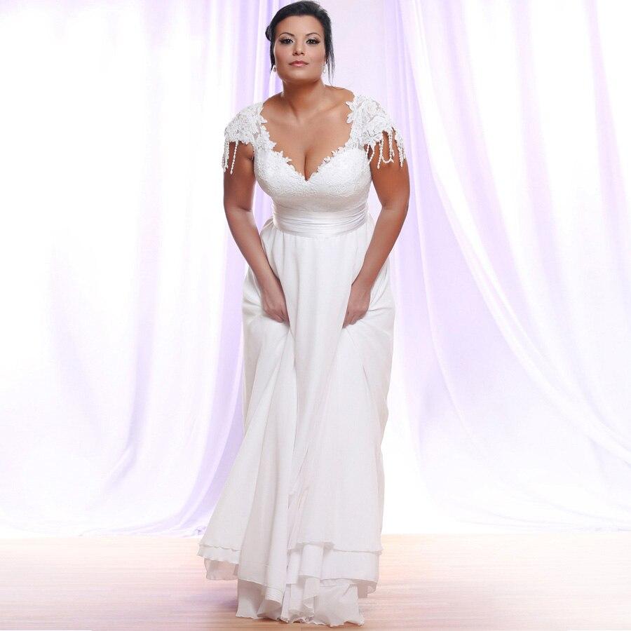 New Arrival Cheap Sexy Plus Size Wedding Dresses Cap Sleeve V-neck Applique Chiffon Wedding Gowns Vestido De Novia