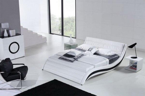 Blanco contemporáneo moderno de cuero suave cama muebles de ...