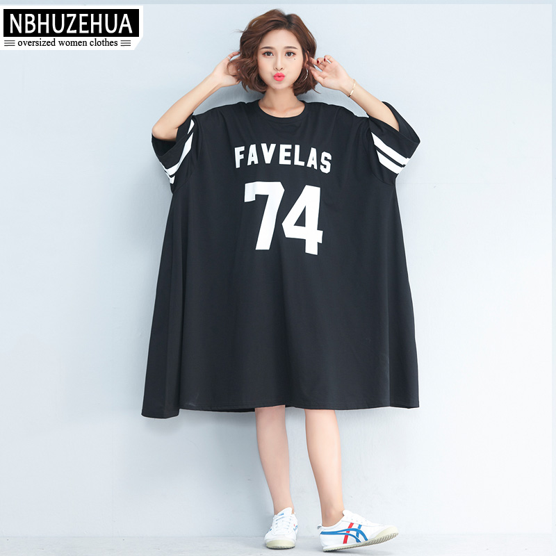 NBHUZEHUA 7G556 Women\'s Big Size T Shirt Dress Half Sleeve Plus Size  Dresses Letter Print Casual Dress 4XL 5XL 6XL 7XL