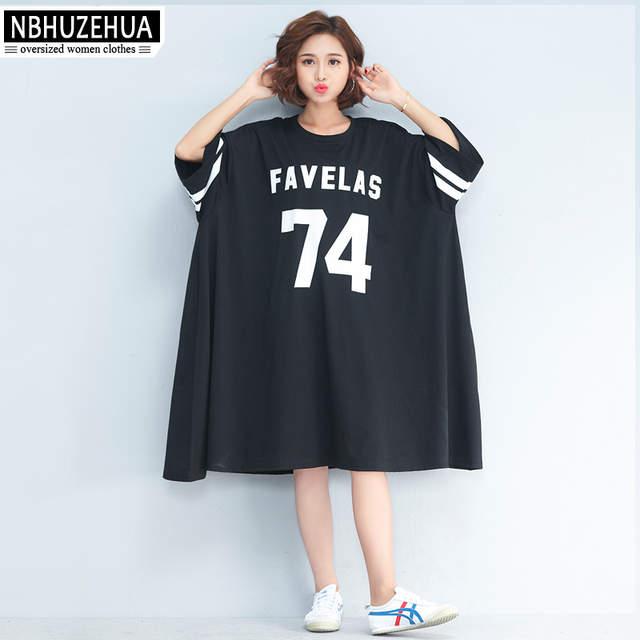 NBHUZEHUA 7G556 Women\'s Big Size T Shirt Dress Half Sleeve Plus Size  Dresses Letter Print Casual Dress 4XL 5XL 6XL 7XL