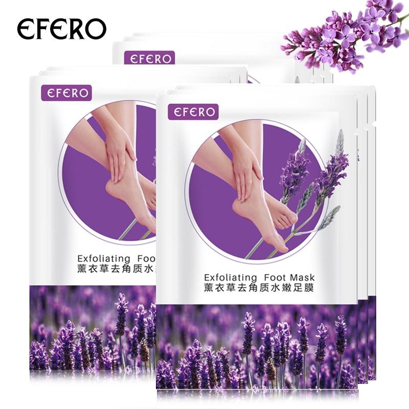 efero 2 pair Lavender Foot Socks Remove Dead Skin Smooth Deep Skin Repair Foot Nourish Mask Peel Renewal Heel Feet Care Mask 2