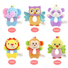 Baby Plush Toys Hang Ring Bell Soft infant Rattle Early Educational Doll lion owl monkey elephant Raccoon chicken 50% off