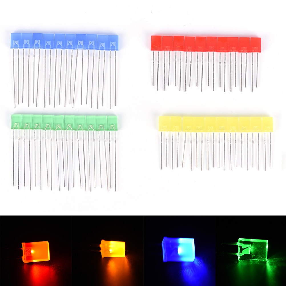 100 2x5x7mm Water Clear Red Green Light Common Anode Rectangle Square LED Diodes