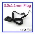 1.2 m DC 3.0x1.1 3.0*1.1mm Enchufe de Alimentación Conector con la cuerda/cable para samsung asus ultrabook adaptador libre gratis