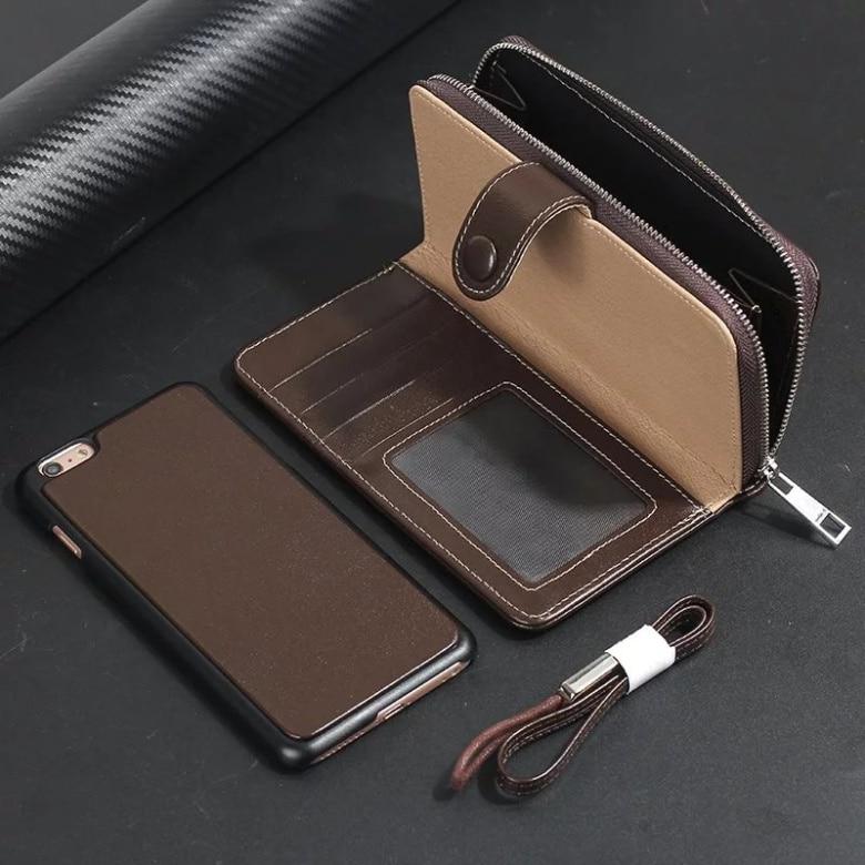 CKHB 2 en 1 étui en cuir véritable Portefeuille Housse pour iphone 8 7 Plus Housse Fermeture À Glissière Sac de Téléphone Classique de rentabilisation