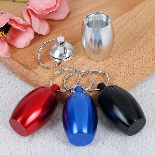 1 pièces en aluminium étui à pilules porte-clés étanche joint médecine organisateur boîte en plein air poche porte-capsules conteneur porte-clés
