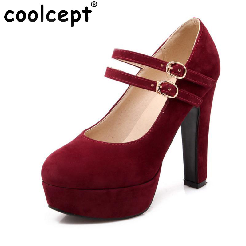 Coolcept women stiletto high heel shoes sexy lady platform spring fashion heeled pumps heels shoes plus