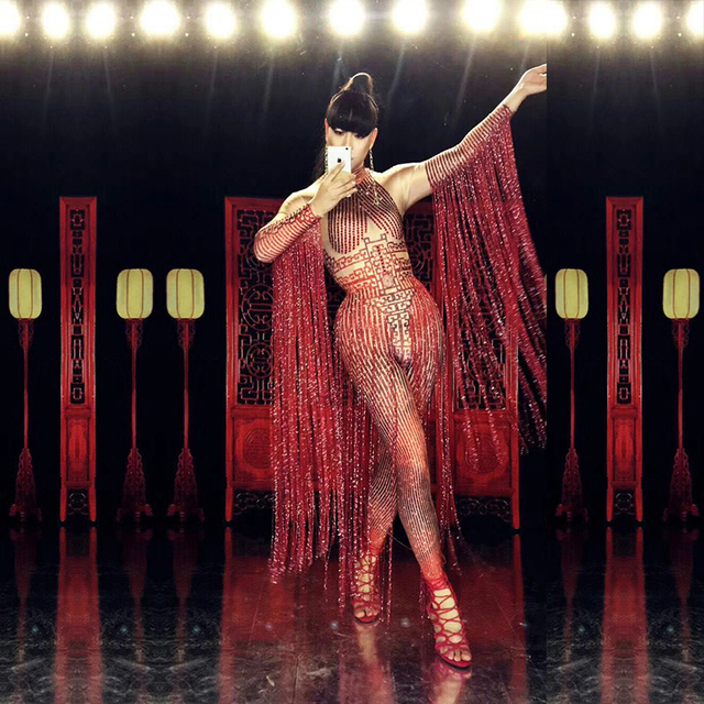 Glisten Crystals Red Jumpsuit Sexy Long Tassel Women Outfit Nightclub Female Singer Costume Stage Dance DS Performance Clothing