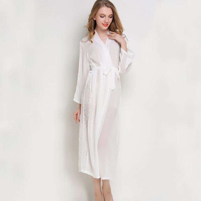 7a3bebd191 Long Robe Sexy Chiffon Bathrobe Full Sleeve Kimono Robe Lace Night Robe  Charming Bath Robe Summer