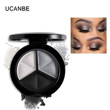 UCANBE Makeup Shimmer Eyeshadow Palette 3 Colors Smoky Cosmetics Set Professional Natural Matte Eye Shadow Sleek