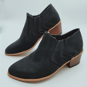 Image 5 - 2020 New Women Ankle Boots Block High Heels Botas Zapatos Mujer Retro Leather Winter Shoes Woman Plus Size Booties Cowboy Boots