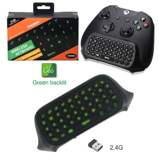 US $16 25 14% OFF|Bluetooth Mini Wireless Keyboard For Xbox One/Xbox One S  Controller 2 4G Chatpad Meaasge Handle Gamepad Green Backlight Keyboard-in