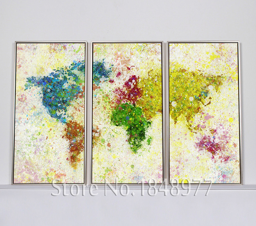 3 Piece Modern Abstract World Map Print Rainbow Map Painting On ...