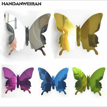12PCS 3D butterflies decoration wall stickers mirror sticker  butterfly PET on the home for bedroom