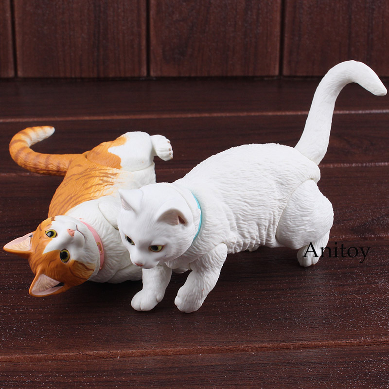 Lovely Short Legged Munchkin Cat White Cat Small Animal Toys PVC Figure Action Collectible Model Toys for Children circle