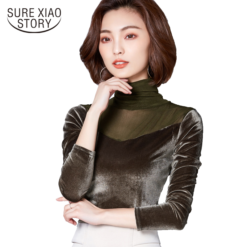 2017 autumn new high collar gold velvet stitching threading women shirt long sleeves solid slim vintage women blouse top 179B 30