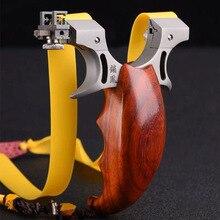 Рогатка из нержавеющей стали, Охотничья катапульта с деревянной ручкой, механический прицел с резиновой лентой для игр на открытом воздухе