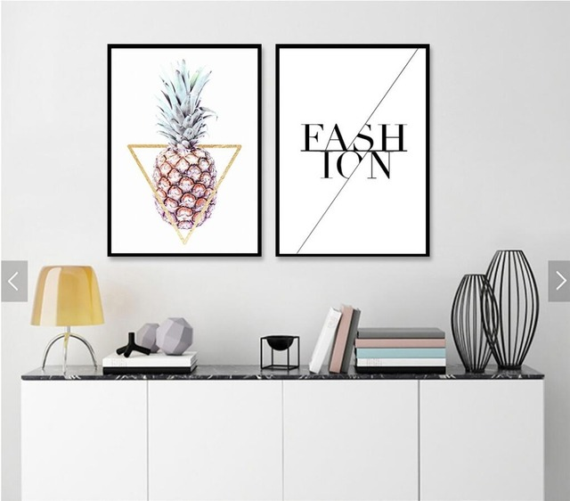 Nordic simple geometric graphics pineapple english letters canvas painting home decor prints image no frame 532